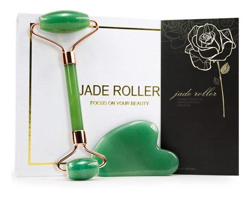 Kit Jade Roller & Gua Sha Set - 100% Jade Natural - Baimei