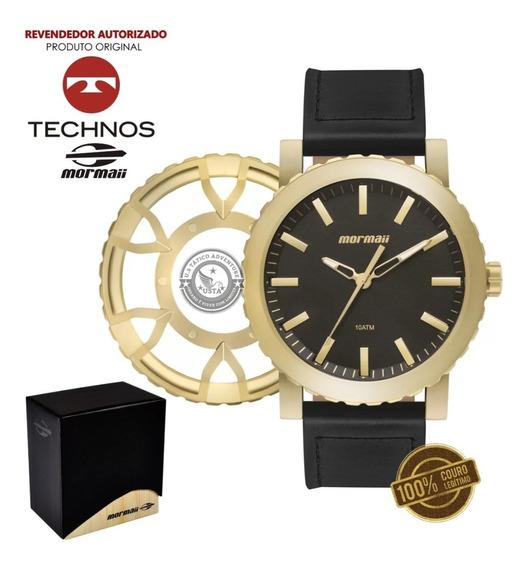 Relógio Dourado 2 Coroas Pulseira Couro Unissex Mormaii Top