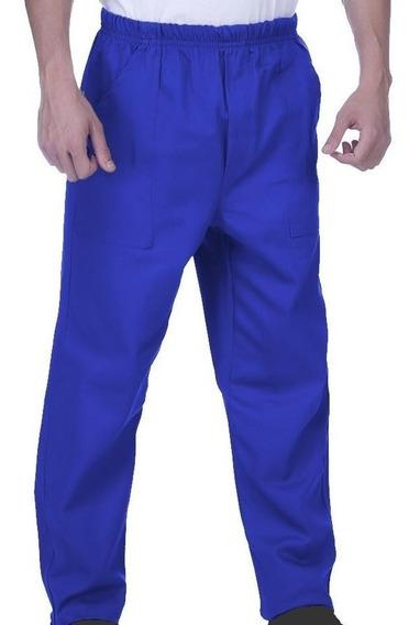 Calça Uniforme Brim Uso Profissional Cinza/azul Frete Gratís
