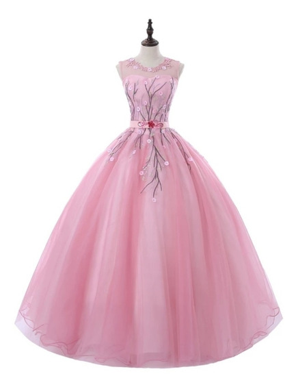 Vestido Xv Años Rosa Ajustable Alq-190816001