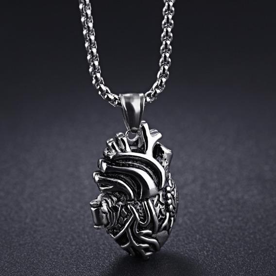 Collar De Corazón Acero Pavonado - 921