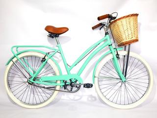 Bicicleta Paseo Vintage Dama Gm Rodado 26 Canasto Mimbre