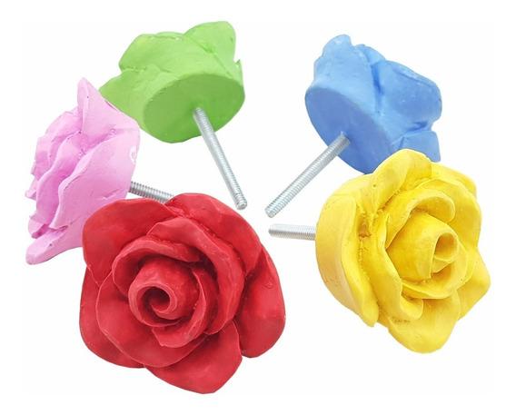 Puxador De Gaveta Flor Rosa Colorido 5 Cm De Resina Kit C/10