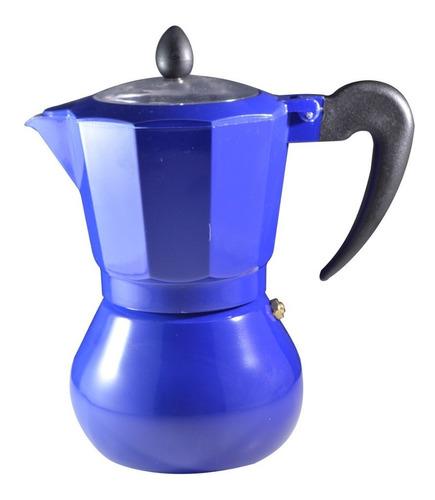 Cafetera Italiana 6 Tazas Aluminio Azul