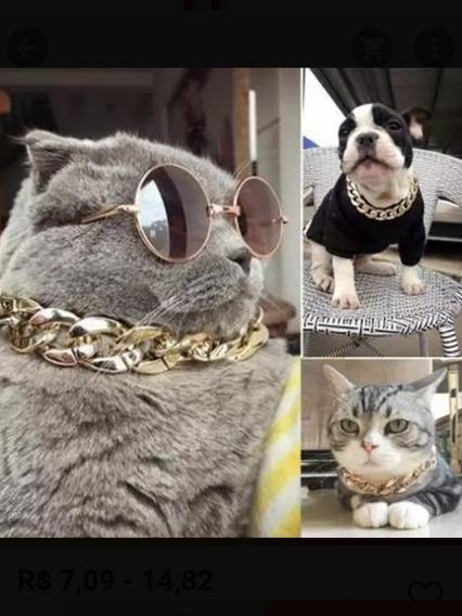 Coleira Gato Cachorro Banhada A Ouro 18k Luxo Antialérgico