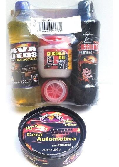 Cheirinho Gel + Kit Limpeza Autos Lava Carros Motos 5x1
