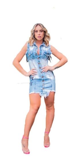 Vestido Jeans Curto Lançamento Decote Aplique