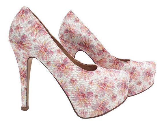 Sapato Feminino - Salto Alto Fino - Plataforma - Floral