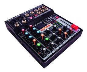 Mesa De Som Profissional Mixer 5 Canais Digital Efeitos Usb