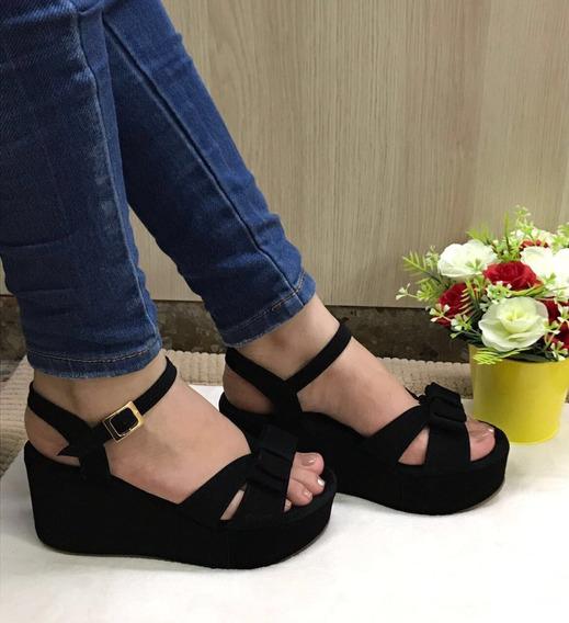 Sandalias De Plataformas Negras Para Mujer Elegantes Finas