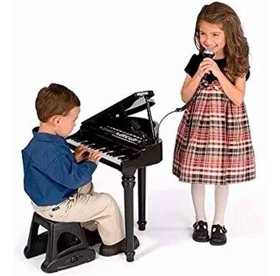 Piano Cauda Teclado Infantil + Microfone + Banquinho Winfun