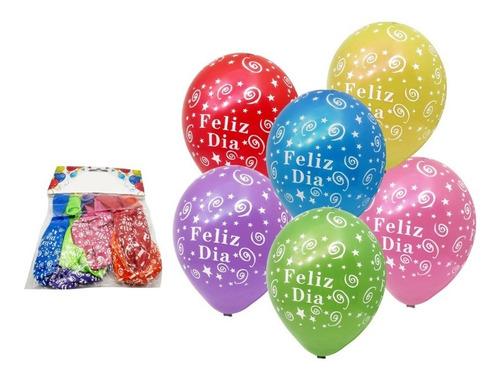 Globos De Colores Estampados De Feliz Dia Y Estrellas X12