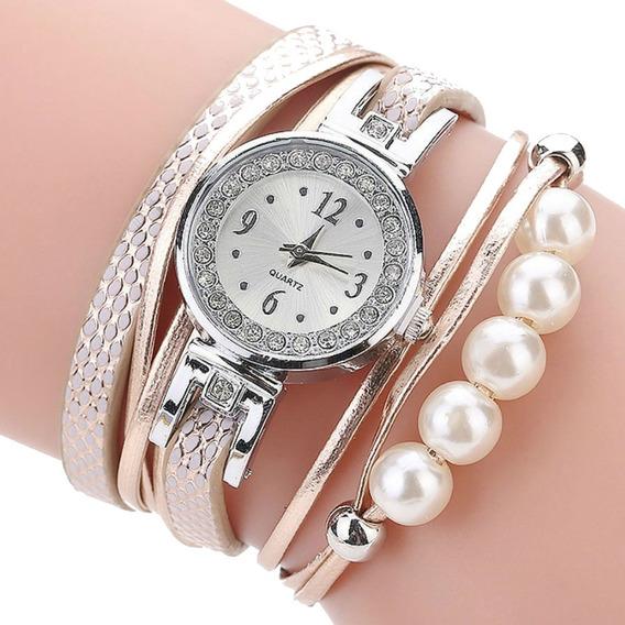 Relógio Feminino Pulseira 5 Pérolas De Couro Barato Promoção