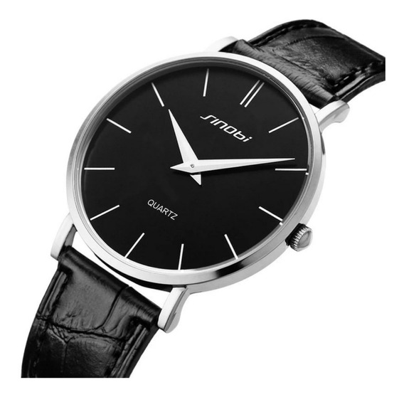 Relógio Masculino Prata Aço Inox Pulseira Couro Fino