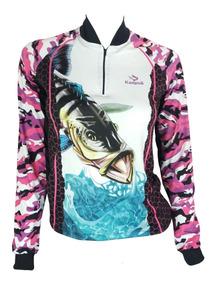 2 Camisas De Pesca Feminina Fps Uv50+kaapuã E Tube De Brinde