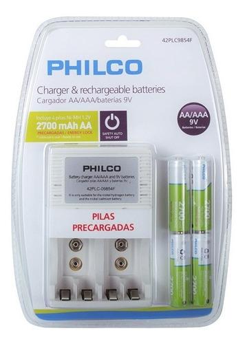 Imagen 1 de 9 de Cargador Y Baterías Recargables Aa/aaa/baterías 9v Philco