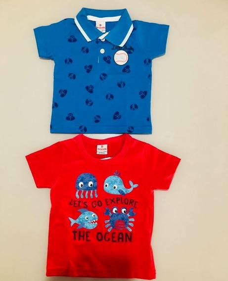 2 Camisetas Infantil Masculina Brandili Tamanho G (9 Meses)