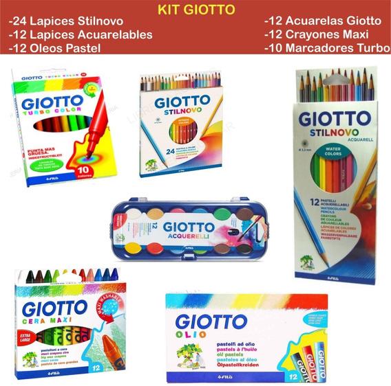 Set 82 Productos Lapices Acuarelas Marcador Pastel Giotto