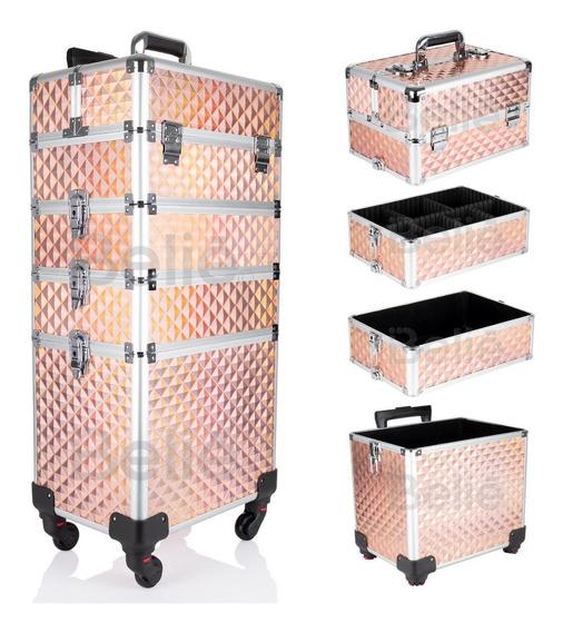 Neceser De 4 Niveles En Torre Cosmetiquera Belleza Resistente Reforzada Con Aluminio Desarmable