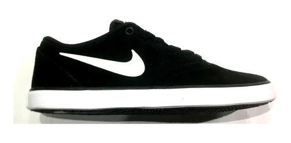 Zapatillas Nike Sb Check Cuero Negro Gamuza Hombre Mujer 001