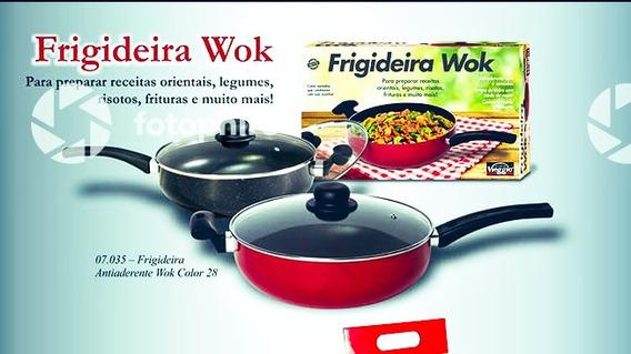 Frigideira Wok Colorida De Qualidade + Espatula De Nylon