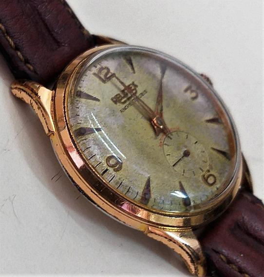 Raro Relotex Corda Anos 50 - Ouro Plaquet - 12x Sem Juros !!