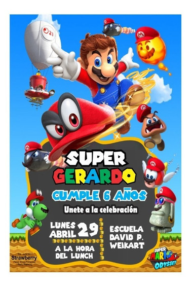 Invitacion Tipo Pizarron Super Mario Odessey Mario Bros 05