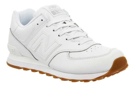 Zapatillas New Balance 574 Blancas Cuero Unisex Tenelo Ya!!