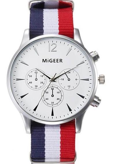 Relógio Masculino Social Tricolor França Migeer Pulseira De Tecido Oferta Frete Grátis