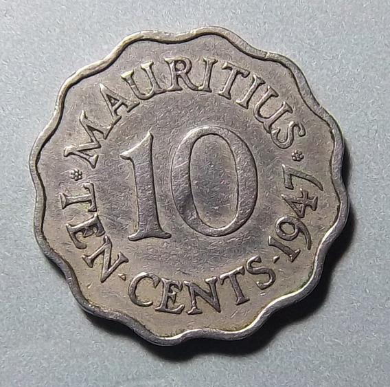 Mauricio 10 Cents 1947 Bueno Km 24 Colonia Británica Escasa
