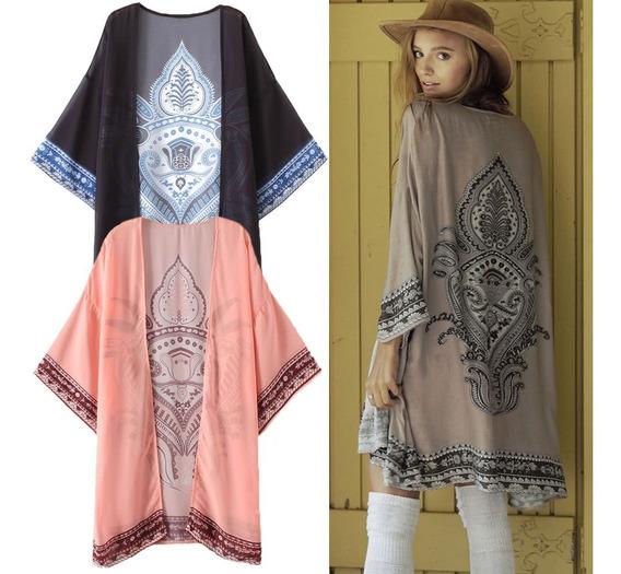 Kimono Largo De Verano De Raso Para Mujer Talla M