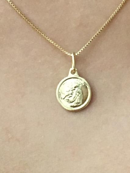 Corrente Folheado Ouro Pingente Medalha De Santo Antonio