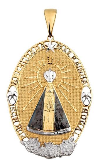 Pingente Nossa Senhora Aparecida Em Ouro 18k Oval
