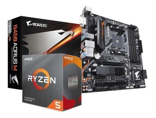 Kit Processador Amd Ryzen 5 3600 Gigabyte B450 Aorus M