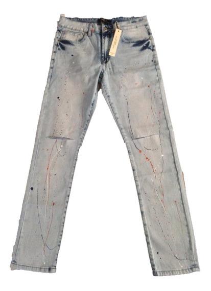 Pantalón De Mezclilla Forever 21 Diseño Roto Con Pintura