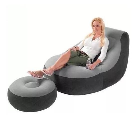3 Poltrona Inflável Ultra Lounge Cinza E Puff + Bomba