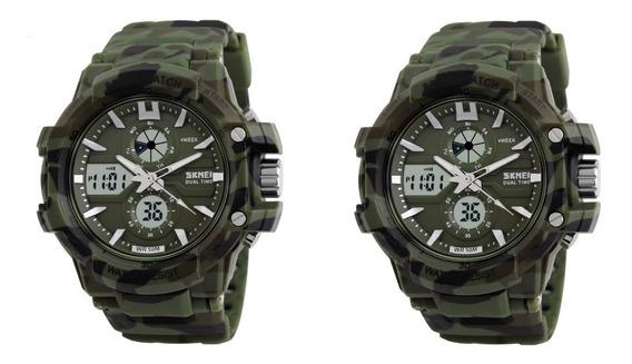 2 Relógio Skmei Masculino Camuflado Esportivo Prova D`água