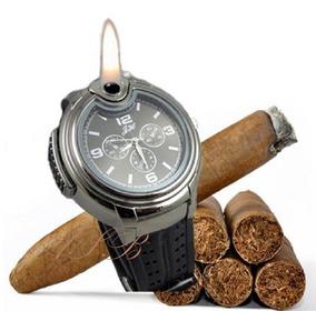 Relógio Isqueiro De Pulso Recarregável Aço Inoxidável
