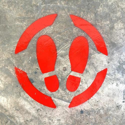 Imagen 1 de 3 de Señalamiento Sana Distancia Plantilla Stencil Para Piso