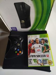 Xbox 360 Slim 4gb En Caja + Juego + Joystick + Cables