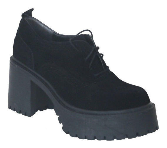 Zapatos Acordonados Plataforma | Visón | Negro | Nazaria