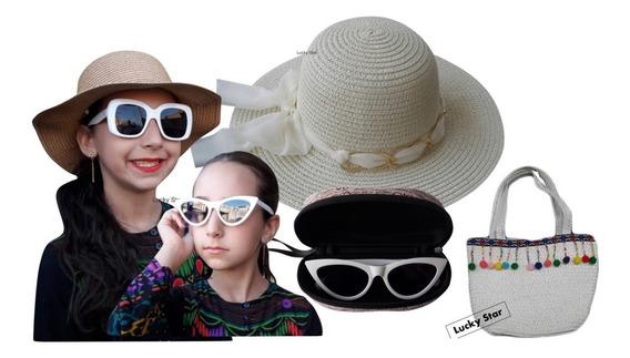 Óculos De Sol Infantil + Chapéu Praia Menina 4 Até 8 Anos + Bolsa Kit
