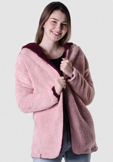 Casaco Reversível Pelinho Rosa/bordô