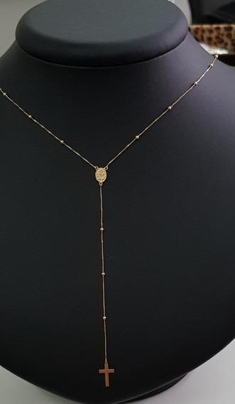 Corrente Cordão Ouro 18k Com Pingentes Religiosos Crucifixo