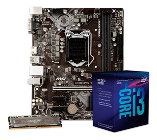 Combo Actualización Intel Core I3 8100 + H310m Mother + 8gb