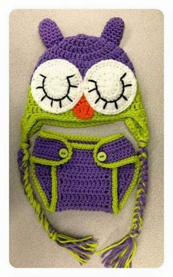 Conjunto Gorro Y Cubrepañal Bebe Crochet En Lana O Hilo