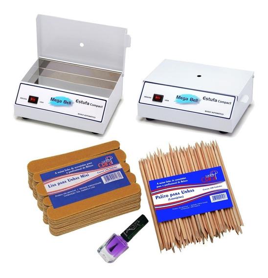 Estufa Esterilizador Manicure + 144 Mini Lixas + 100 Palitos