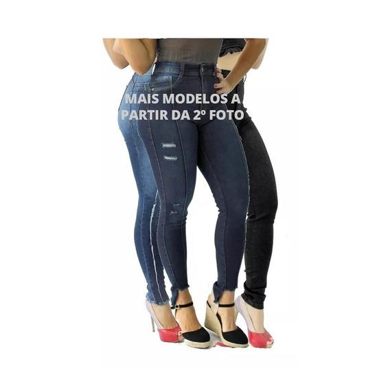 Kit 3 Calça Jeans Feminina Cintura Média/alta Cós Alto Lycra