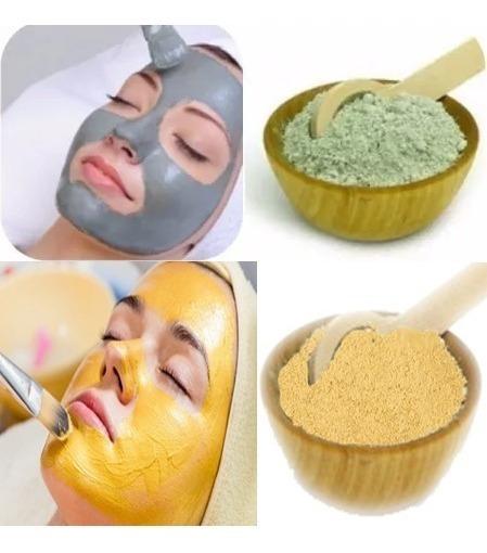 Argila Verde 1 Kg + 1 Kg De Argila Amarela - Grátis: Máscara