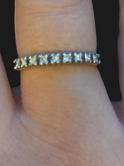 Meia Aliança Em Ouro Branco 18k Com Diamantes H.stern